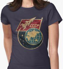 CCCP-Flaggen-Weltraumrakete Tailliertes T-Shirt