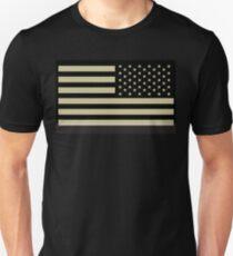 Camiseta ajustada EJÉRCITO AMERICANO, soldado, militar estadounidense, bandera del brazo, ejército de los EE. UU., IR, infrarrojo, los eeuu, bandera, bandera del revés, en NEGRO