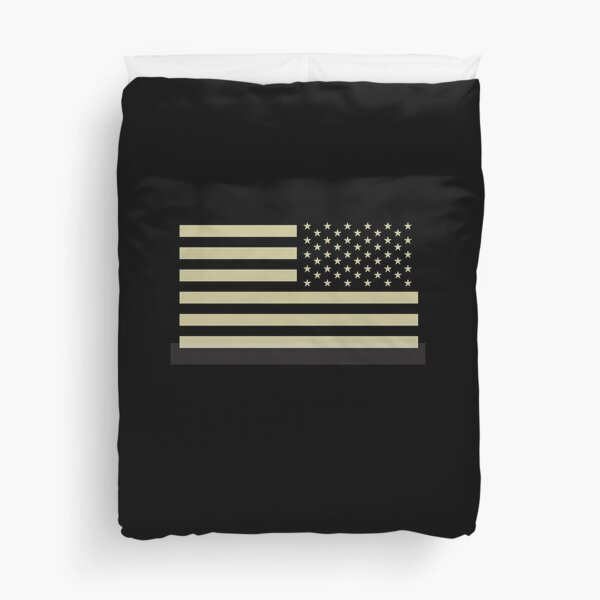 AMERICAN ARMY. Soldier. American Military. Arm Flag, US Military, IR, Infrared, USA, Flag, Reverse side flag, on BLACK. Duvet Cover