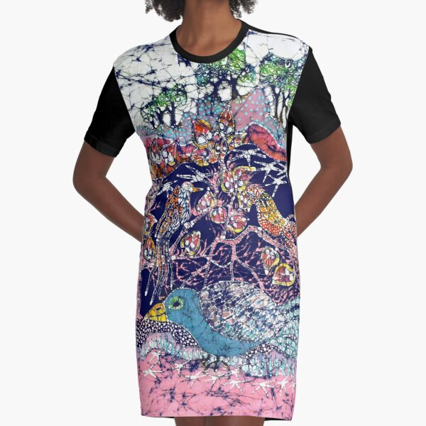 Magical Birds Batik Art Graphic T-Shirt Dress