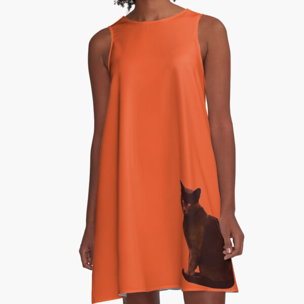 orange cat A-Line Dress