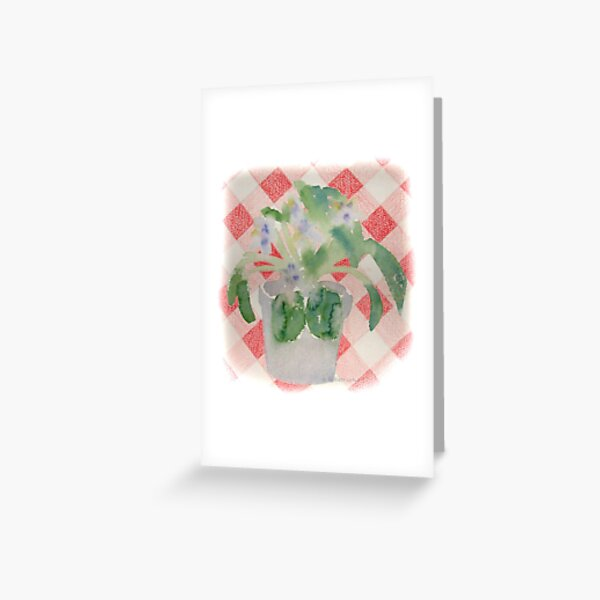 African Violet on Checkered Tablecloth Greeting Card