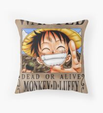 Luffy - Wanted - One Piece Throw Pillow