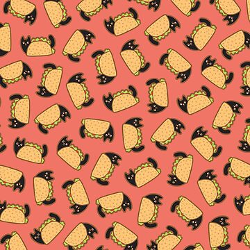 Taco Cat Pattern with Black Cats by evannave
