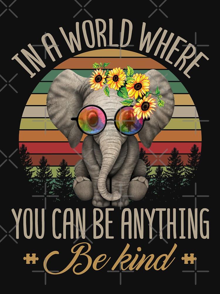 Weinlese-Retro nette Elefant-Sonnenblume ist alles seitiges nettes T-Shirt von liuxy071195
