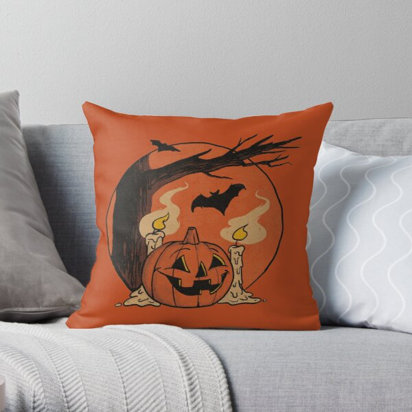 Vintage Pumpkin Scene Halloween 2018 Throw Pillow