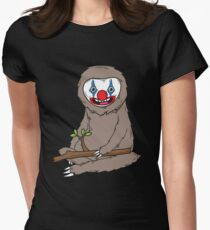 Sloth Wearing Scary Clown Makeup Cute Halloween Spooky Graphic Art Gift Women's Fitted T-Shirt
