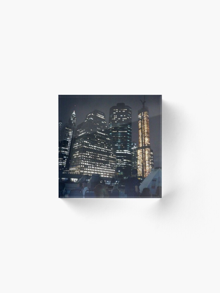 Alternate view of #skyscraper #city #architecture #business #cityscape #tallest #office #finance #dusk #tower #modern #sky #outdoors #horizontal # #colorimage #copyspace #builtstructure #downtowndistrict #urbanskyline  Acrylic Block