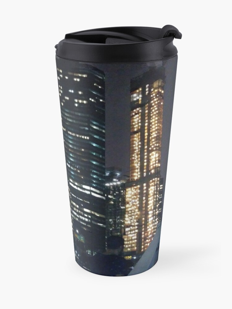 Alternate view of #skyscraper #city #architecture #business #cityscape #tallest #office #finance #dusk #tower #modern #sky #outdoors #horizontal # #colorimage #copyspace #builtstructure #downtowndistrict #urbanskyline  Travel Mug