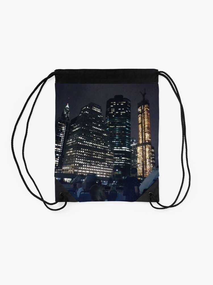 Alternate view of #skyscraper #city #architecture #business #cityscape #tallest #office #finance #dusk #tower #modern #sky #outdoors #horizontal # #colorimage #copyspace #builtstructure #downtowndistrict #urbanskyline  Drawstring Bag
