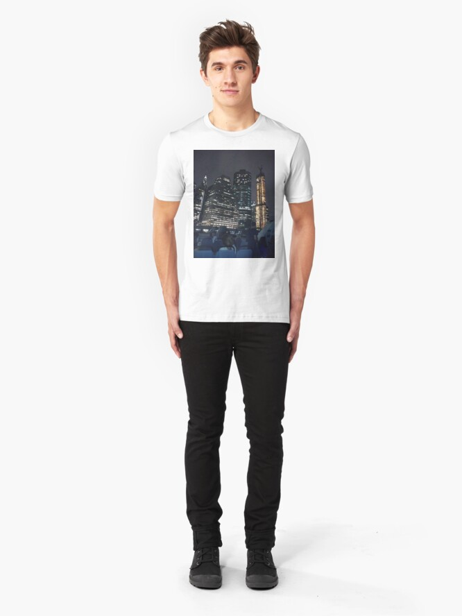 Alternate view of #skyscraper #city #architecture #business #cityscape #tallest #office #finance #dusk #tower #modern #sky #outdoors #horizontal # #colorimage #copyspace #builtstructure #downtowndistrict #urbanskyline  Slim Fit T-Shirt