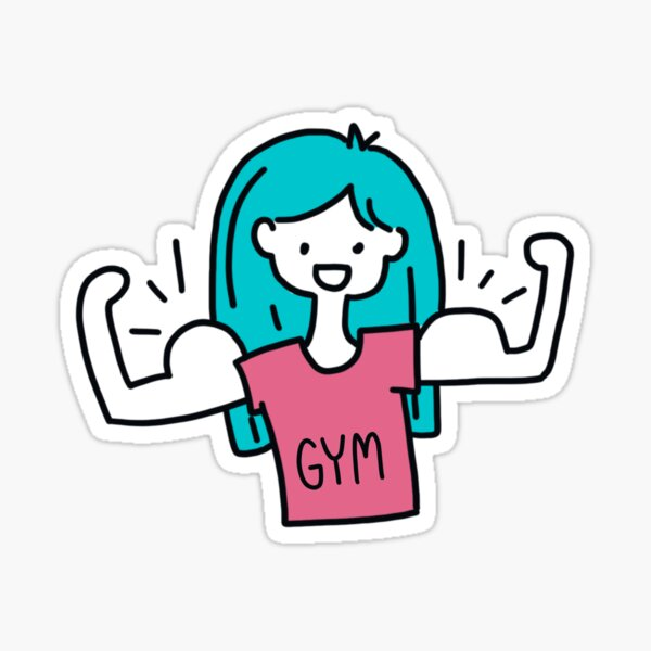The muscle gym girl  Sticker