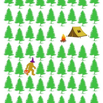 Halloween Camping in Woods Funny Bigfoot with Pumpkin Face and Witch Hat Trick or Treat Camp Tent by RegisDesignz