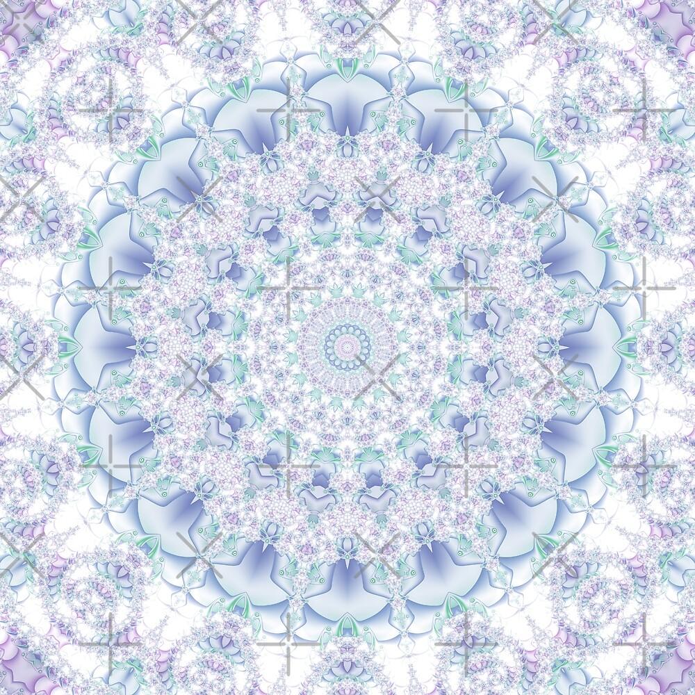 Purple, Blue, and Green Pastel Mandala by Kelly Dietrich