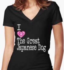 I Heart The Great Japanese Dog   Love The Great Japanese Dog - Akita Inu Women's Fitted V-Neck T-Shirt