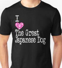 Camiseta unisex I Heart The Great Japanese Dog | Me encanta el gran perro japonés - Akita Inu