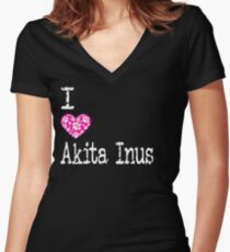 I Heart Akita Inus   Love Akita Inu Dog Breeds Women's Fitted V-Neck T-Shirt
