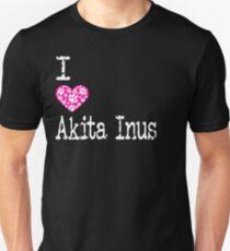 Camiseta unisex Yo Corazón Akita Inus | Amo las razas de perros Akita Inu