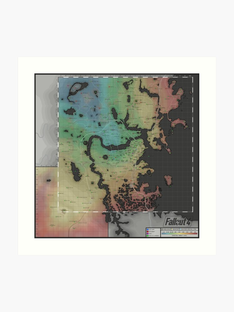 picture regarding Fallout 4 Printable Map called Fallout 4 Map Artwork Print