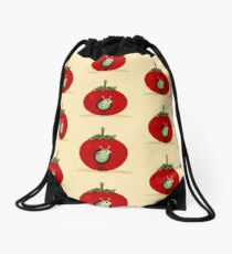RED APPLE with a really CUTE WORM art on PILLOW Drawstring Bag