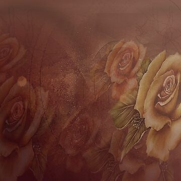 Faded Cinammon Roses in Abstract by JMarielle