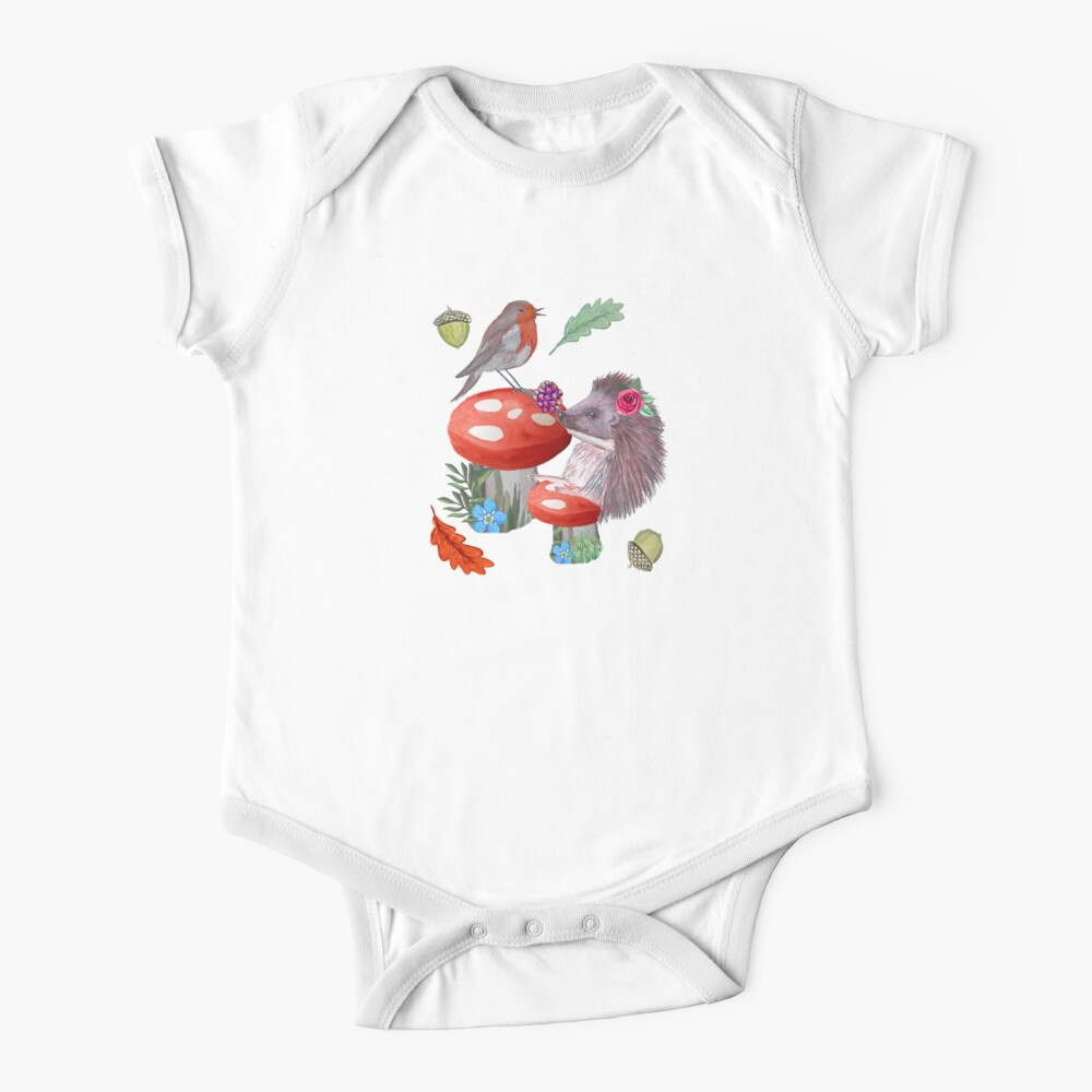 Hedgehog, Toadstool and Robin in watercolor Autumn leaf print. Baby One-Piece