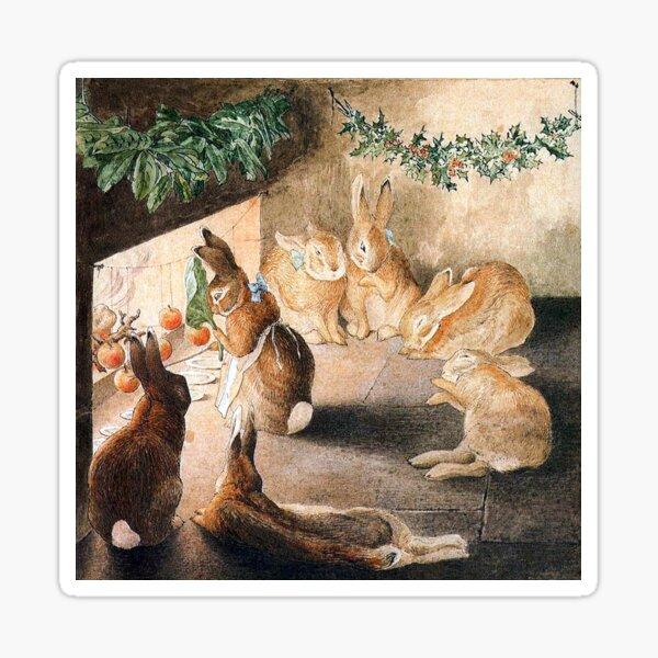 Christmas Rabbit Family Roasting Apples - Beatrix Potter Sticker