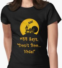 Promoting Voter Registration Halloween Fun and College Students  Women's Fitted T-Shirt