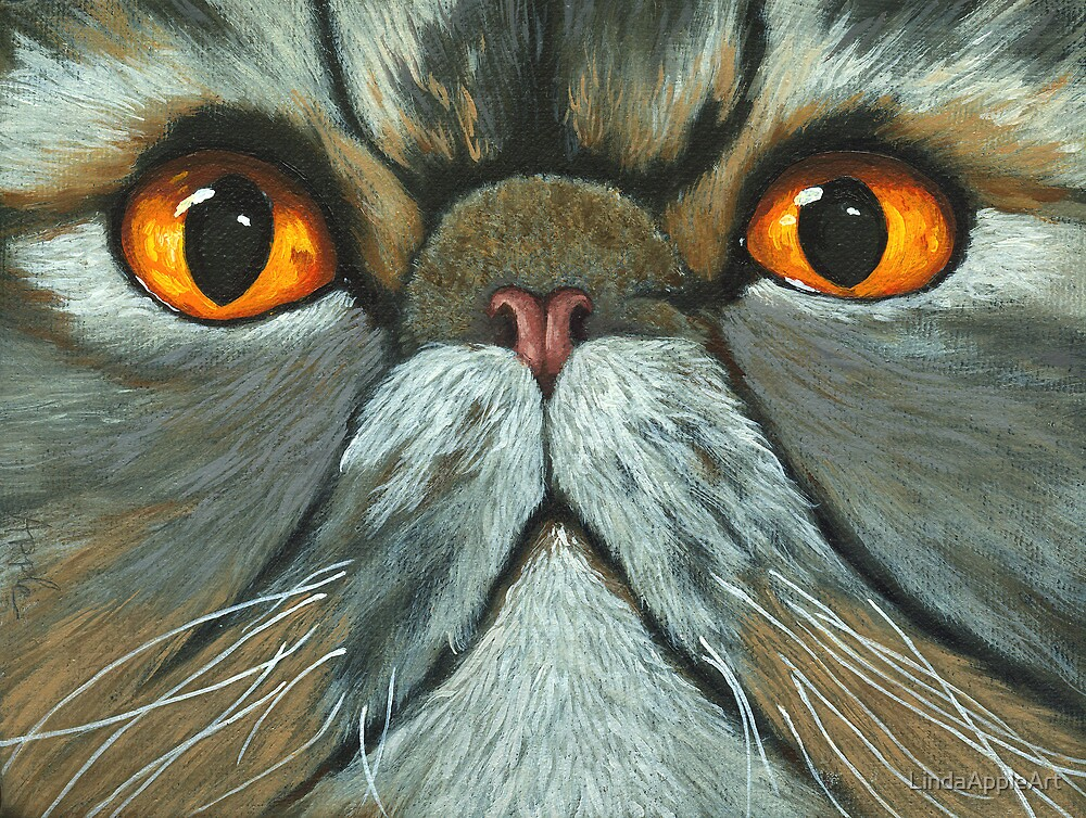 The Predictably Purr-sistant Persian - cat portrait oil painting by LindaAppleArt