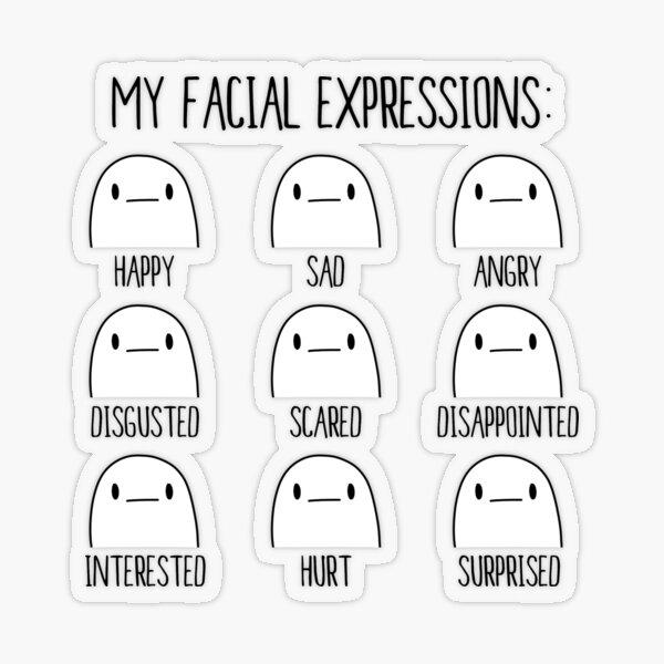 My Facial Expressions   nerd geek poker face introvert Transparent Sticker