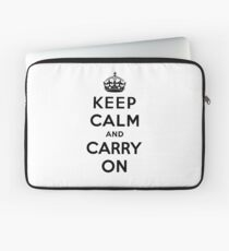 KEEP CALM AND CARRY ON (BLACK) Laptop Sleeve