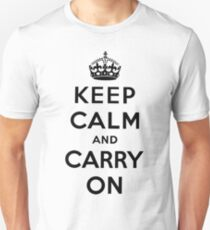 KEEP CALM AND CARRY ON (BLACK) Unisex T-Shirt