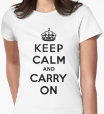 KEEP CALM AND CARRY ON (BLACK) Women's Fitted T-Shirt