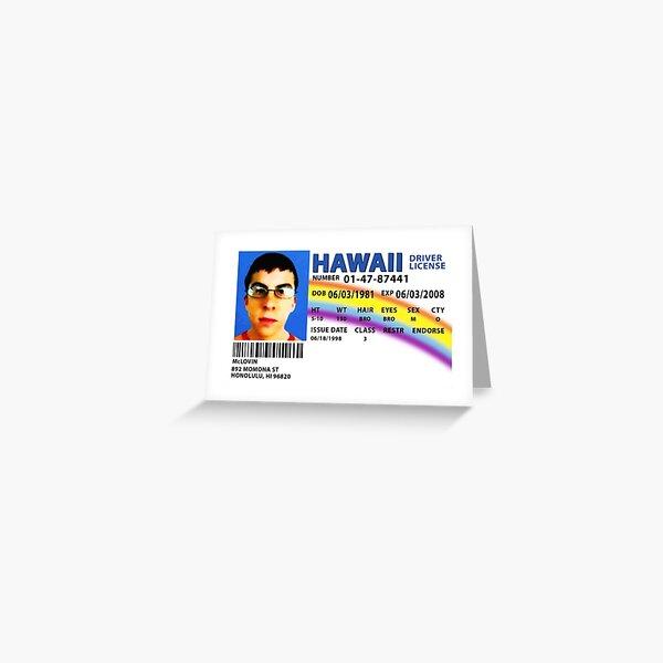 Réplica de licencia de conducir de McLovin SUPERBAD Tarjetas de felicitación