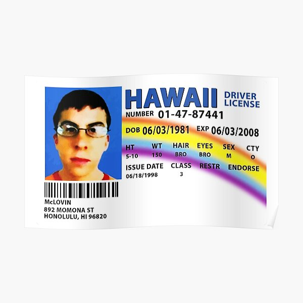 McLovin SUPERBAD Drivers License Replica Poster