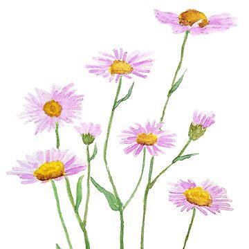 little purple daisy watercolor  by ColorandColor