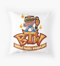 BTW - Battle Tribes Wrestling Logo featuring Jimmy Cheeseburger Throw Pillow