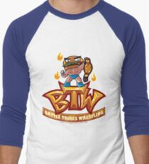 BTW - Battle Tribes Wrestling Logo featuring Jimmy Cheeseburger Men's Baseball ¾ T-Shirt
