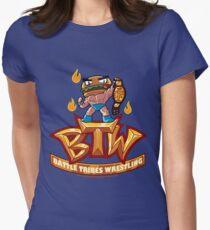 BTW - Battle Tribes Wrestling Logo featuring Jimmy Cheeseburger Women's Fitted T-Shirt