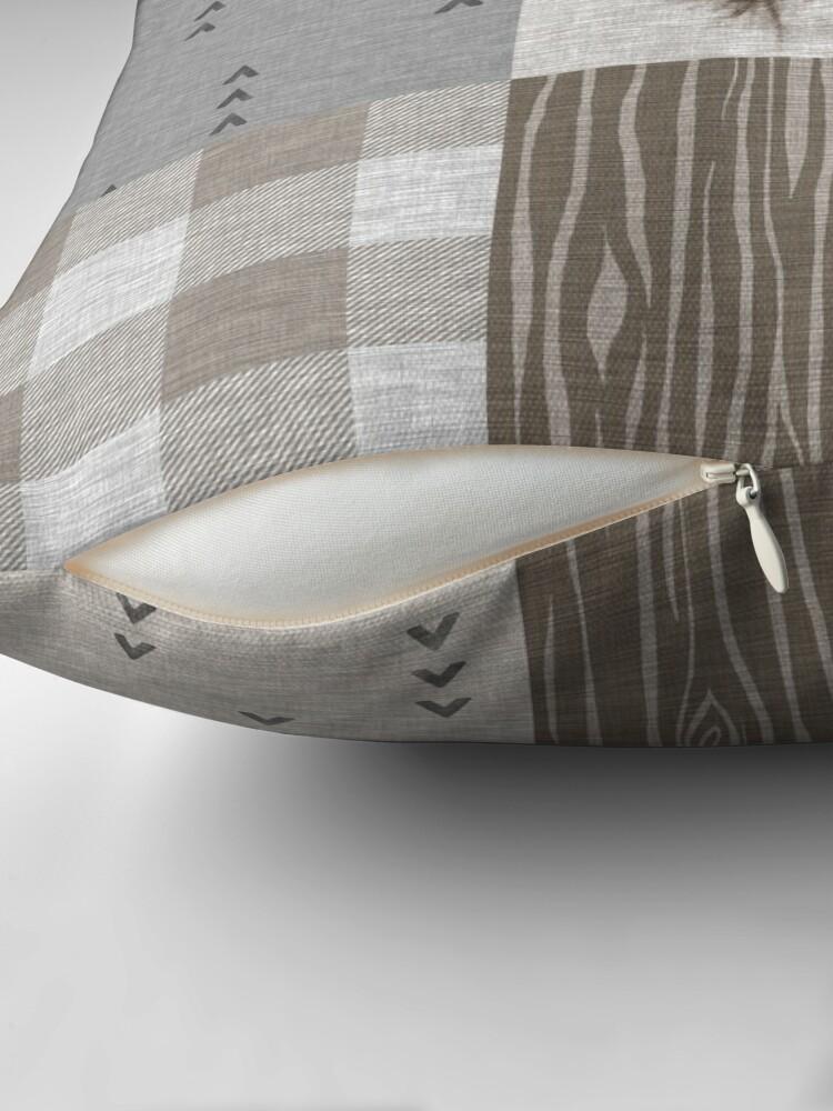 Alternate view of Deer Patchwork - Rustic Neutrals Throw Pillow