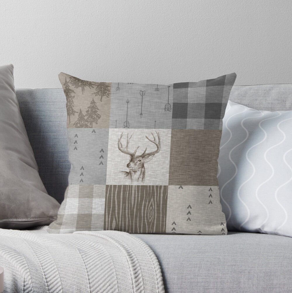 Deer Patchwork - Throw Pillow
