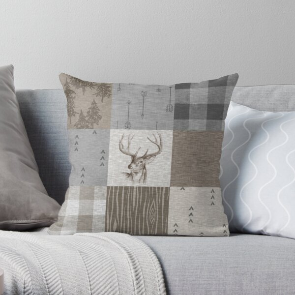 Deer Patchwork - Rustic Neutrals Throw Pillow