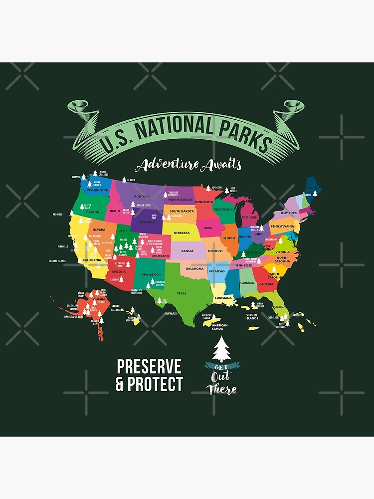 Hiking US National Parks Map Advenuture Await Preserve & Protect Get Out ThereGift by Sandra78