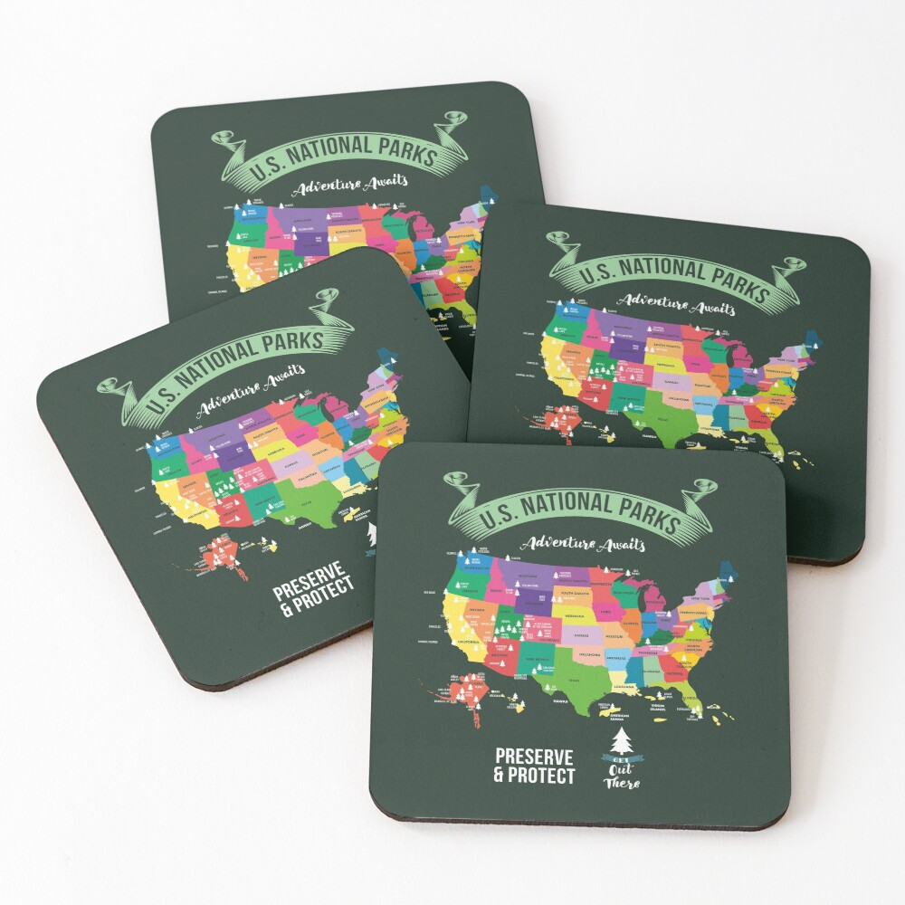 Hiking US National Parks Map Advenuture Await Preserve & Protect Get Out ThereGift Coasters (Set of 4)