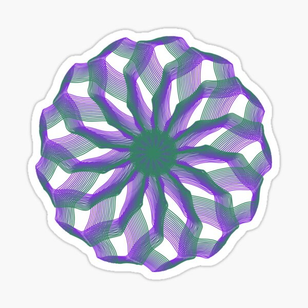 Spirograph with green and violet Sticker
