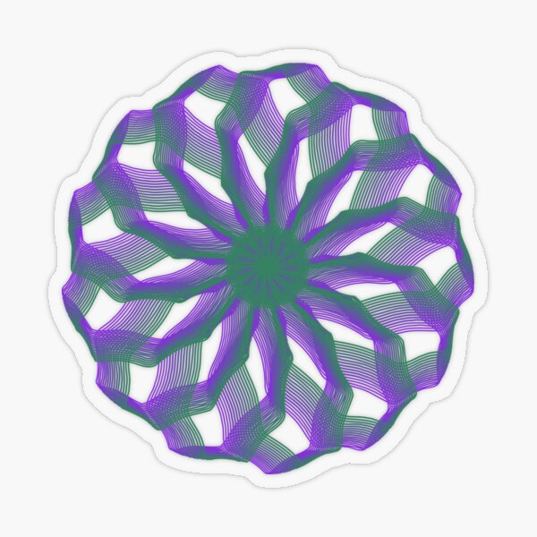 Spirograph with green and violet Transparent Sticker