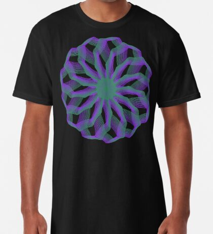 Spirograph with green and violet Long T-Shirt