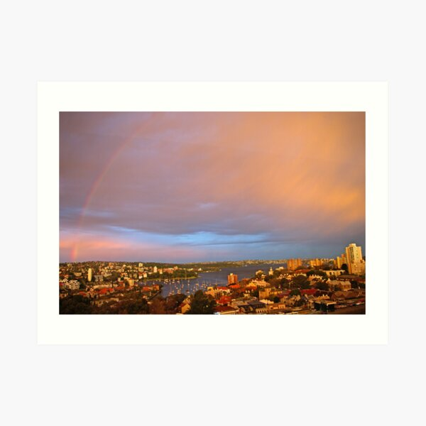 Rainbow Over Sydney at Sunset Art Print