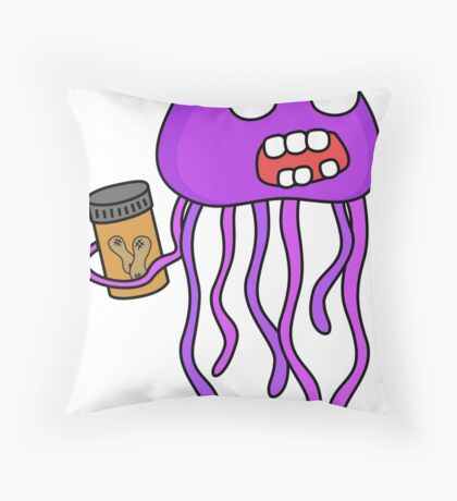 angry zombie jellyfish Throw Pillow