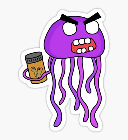 angry zombie jellyfish Sticker